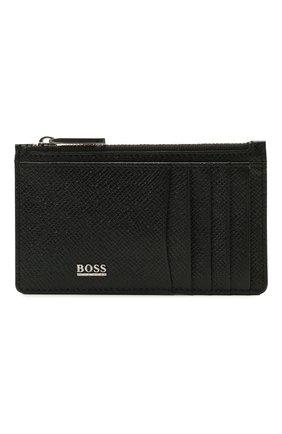 Мужской кожаный футляр для кредитных карт BOSS черного цвета, арт. 50452058   Фото 1