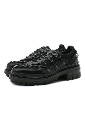 Мужские комбинированные ботинки DSQUARED2 черного цвета, арт. LUM0063 24903914 | Фото 1 (Материал внутренний: Натуральная кожа, Текстиль; Подошва: Массивная; Каблук высота: Высокий; Мужское Кросс-КТ: Ботинки-обувь)