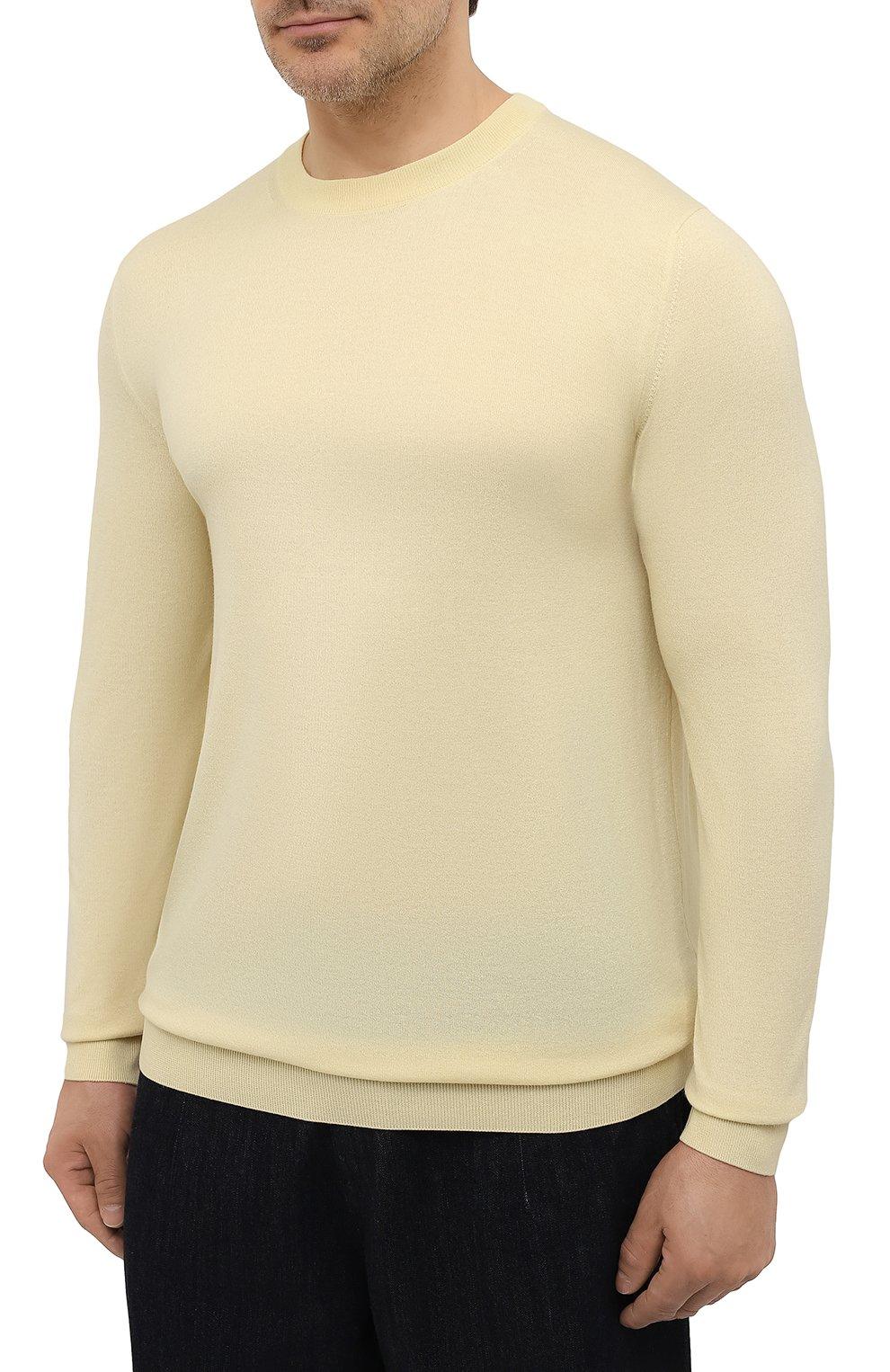 Мужской джемпер из шерсти викуньи LORO PIANA желтого цвета, арт. FAL6624/VVIC   Фото 3