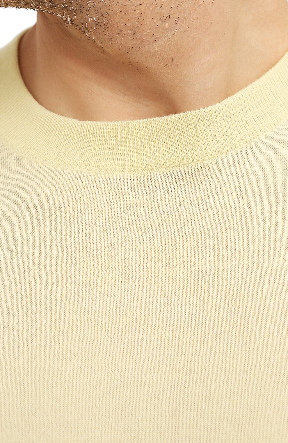 Мужской джемпер из шерсти викуньи LORO PIANA желтого цвета, арт. FAL6624/VVIC   Фото 5