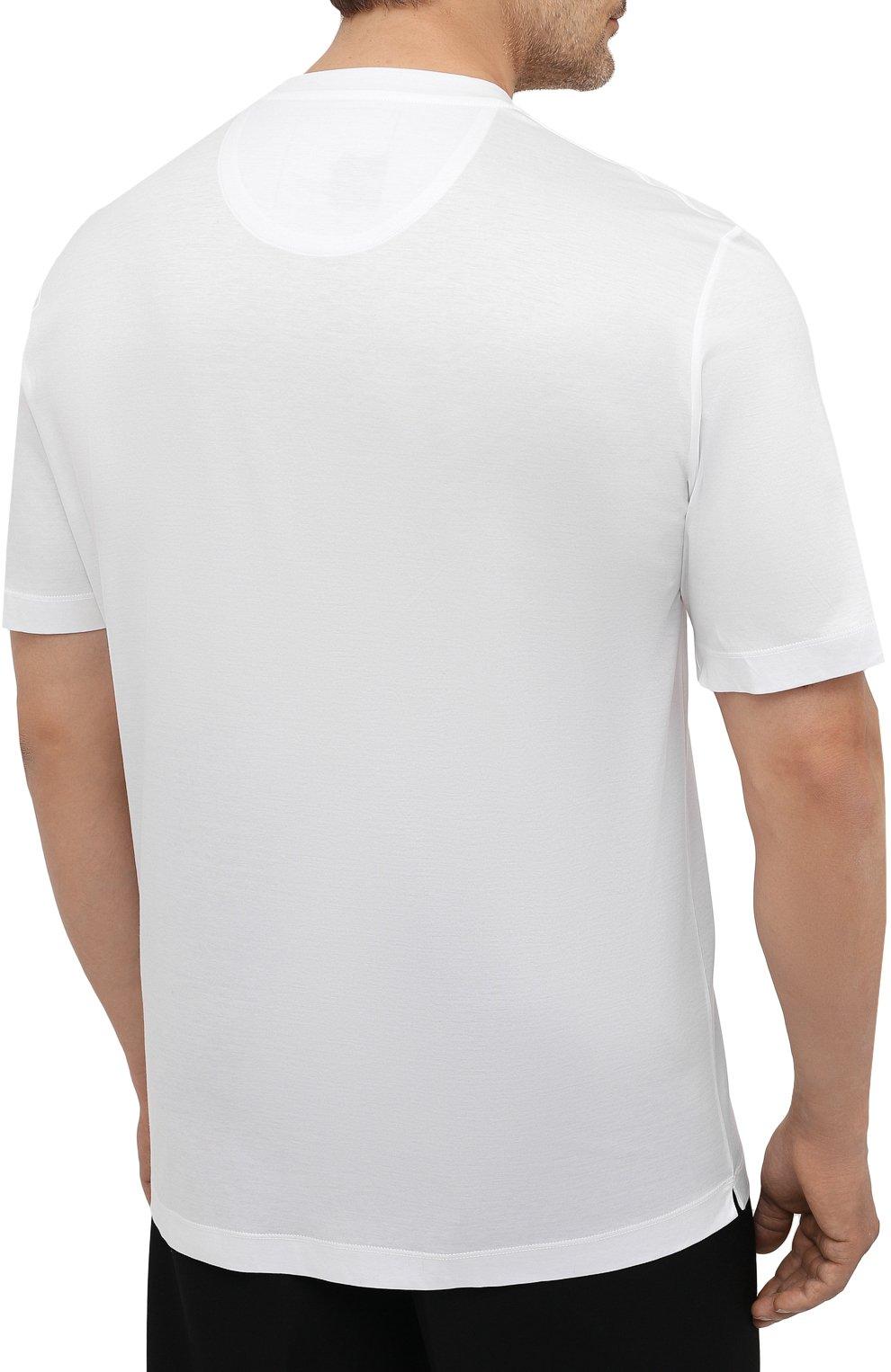 Мужская хлопковая футболка MARCO PESCAROLO белого цвета, арт. JAMES/4363/4XL-8XL   Фото 4 (Big sizes: Big Sizes; Принт: Без принта; Рукава: Короткие; Длина (для топов): Удлиненные; Материал внешний: Хлопок; Стили: Кэжуэл)