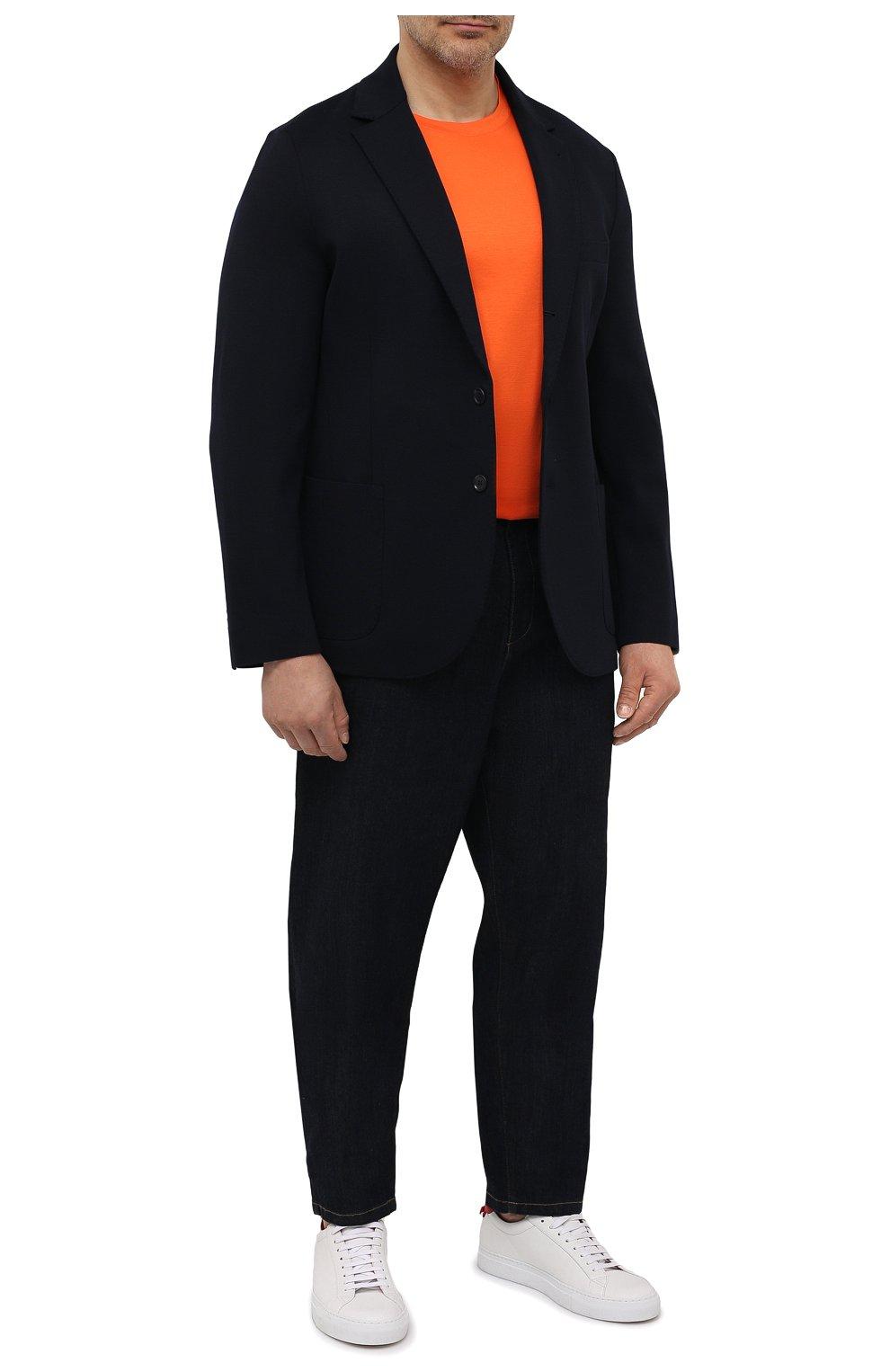 Мужская хлопковая футболка MARCO PESCAROLO оранжевого цвета, арт. JAMES/4363/4XL-8XL   Фото 2 (Big sizes: Big Sizes; Принт: Без принта; Рукава: Короткие; Длина (для топов): Удлиненные; Материал внешний: Хлопок; Стили: Кэжуэл)