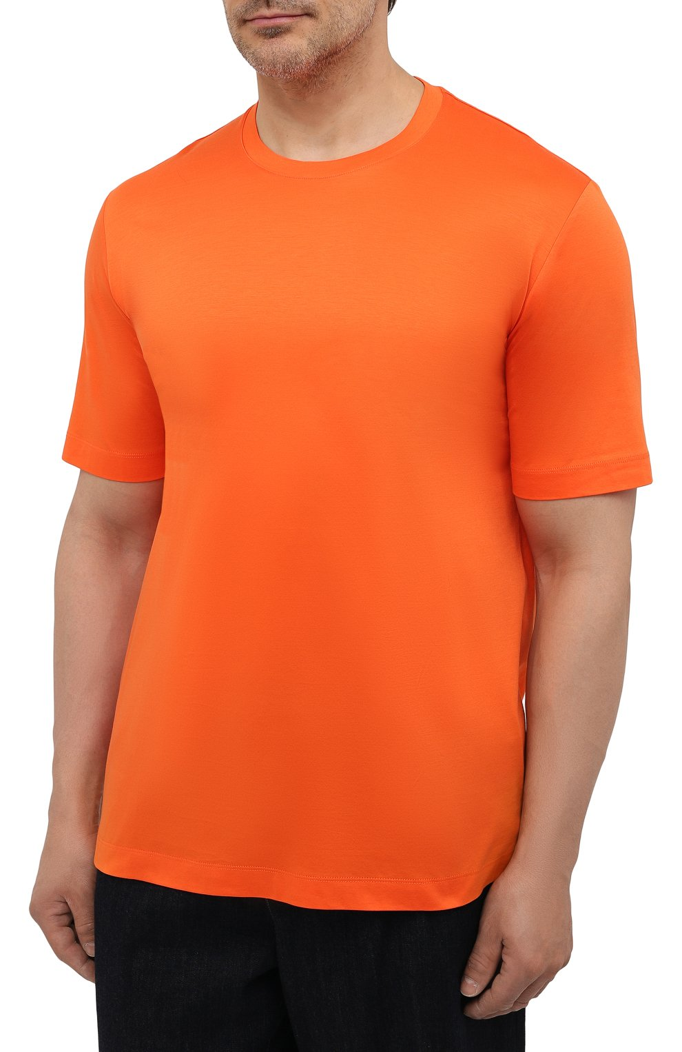 Мужская хлопковая футболка MARCO PESCAROLO оранжевого цвета, арт. JAMES/4363/4XL-8XL   Фото 3 (Big sizes: Big Sizes; Принт: Без принта; Рукава: Короткие; Длина (для топов): Удлиненные; Материал внешний: Хлопок; Стили: Кэжуэл)