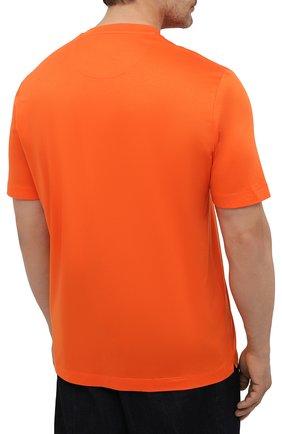 Мужская хлопковая футболка MARCO PESCAROLO оранжевого цвета, арт. JAMES/4363/4XL-8XL   Фото 4 (Big sizes: Big Sizes; Принт: Без принта; Рукава: Короткие; Длина (для топов): Удлиненные; Материал внешний: Хлопок; Стили: Кэжуэл)