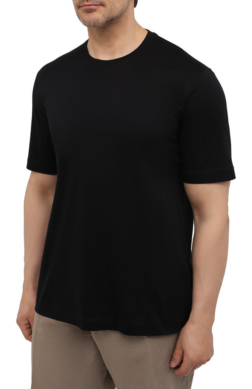 Мужская хлопковая футболка MARCO PESCAROLO черного цвета, арт. JAMES/4363/4XL-8XL | Фото 3 (Big sizes: Big Sizes; Принт: Без принта; Рукава: Короткие; Длина (для топов): Удлиненные; Материал внешний: Хлопок; Стили: Кэжуэл)