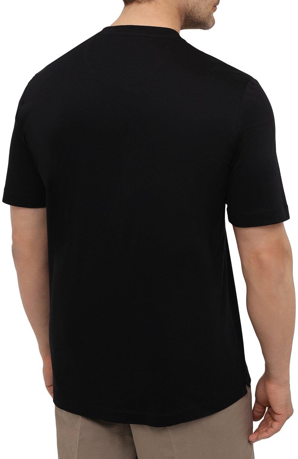 Мужская хлопковая футболка MARCO PESCAROLO черного цвета, арт. JAMES/4363/4XL-8XL | Фото 4 (Big sizes: Big Sizes; Принт: Без принта; Рукава: Короткие; Длина (для топов): Удлиненные; Материал внешний: Хлопок; Стили: Кэжуэл)