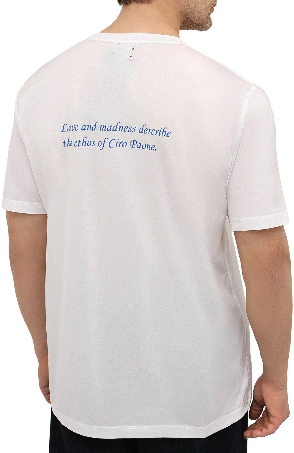 Мужская хлопковая футболка KITON белого цвета, арт. UK1275L | Фото 4