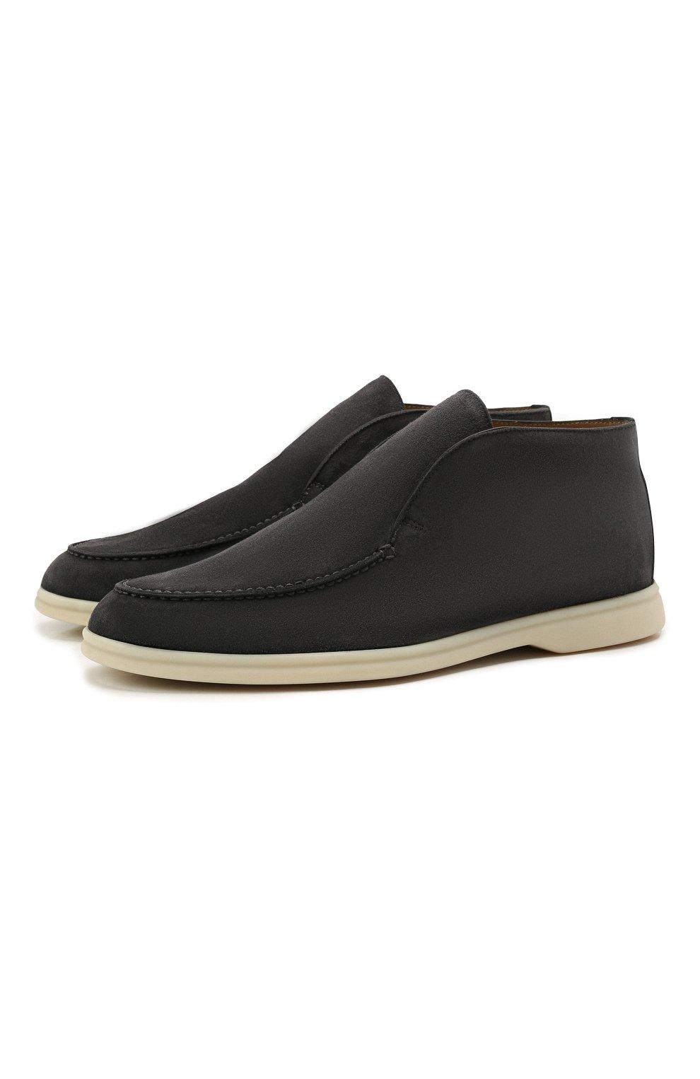 Мужские замшевые ботинки open walk LORO PIANA темно-серого цвета, арт. FAB4368   Фото 1