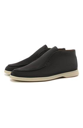 Мужские замшевые ботинки open walk LORO PIANA темно-серого цвета, арт. FAB4368 | Фото 1