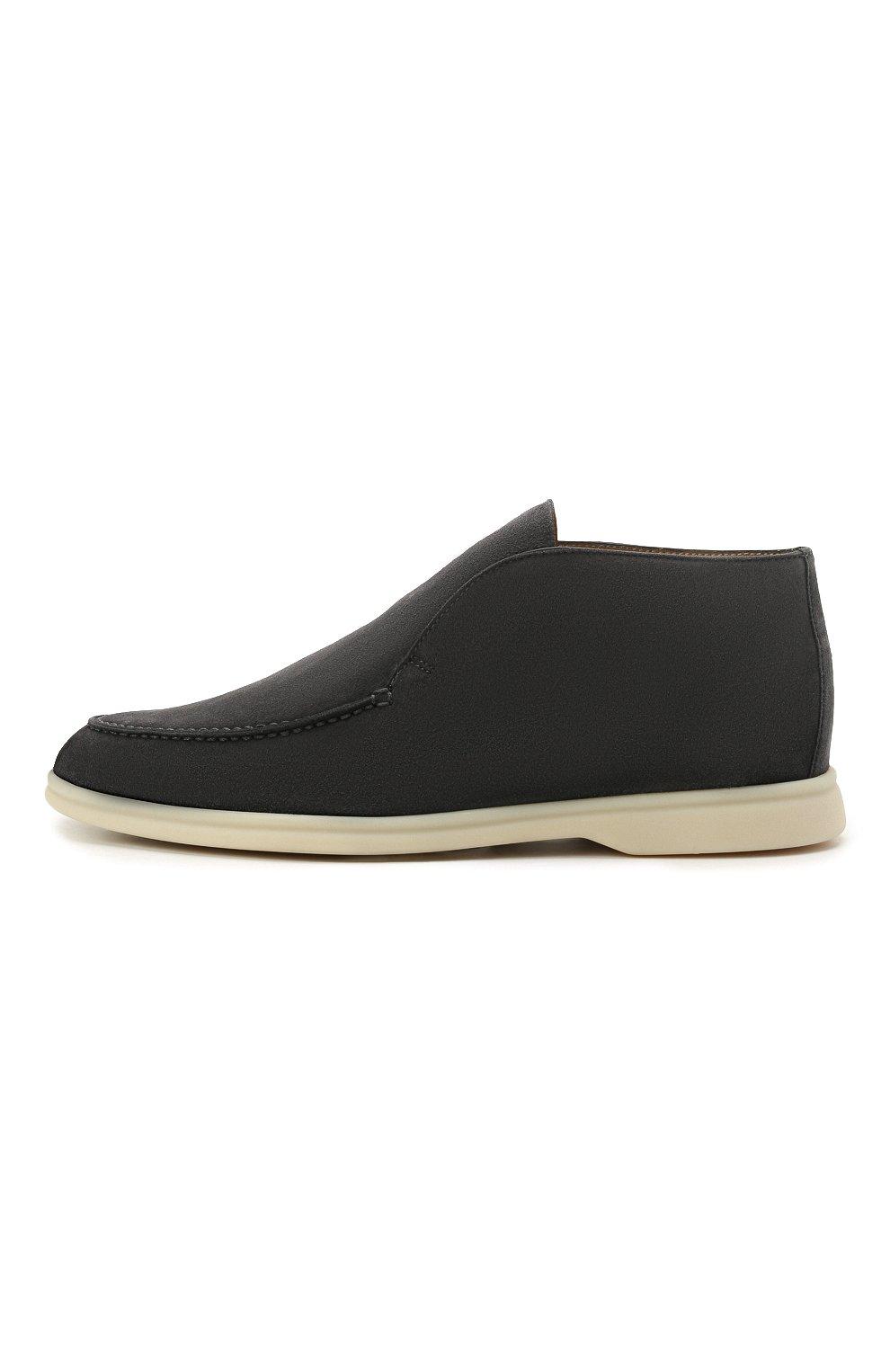 Мужские замшевые ботинки open walk LORO PIANA темно-серого цвета, арт. FAB4368   Фото 2