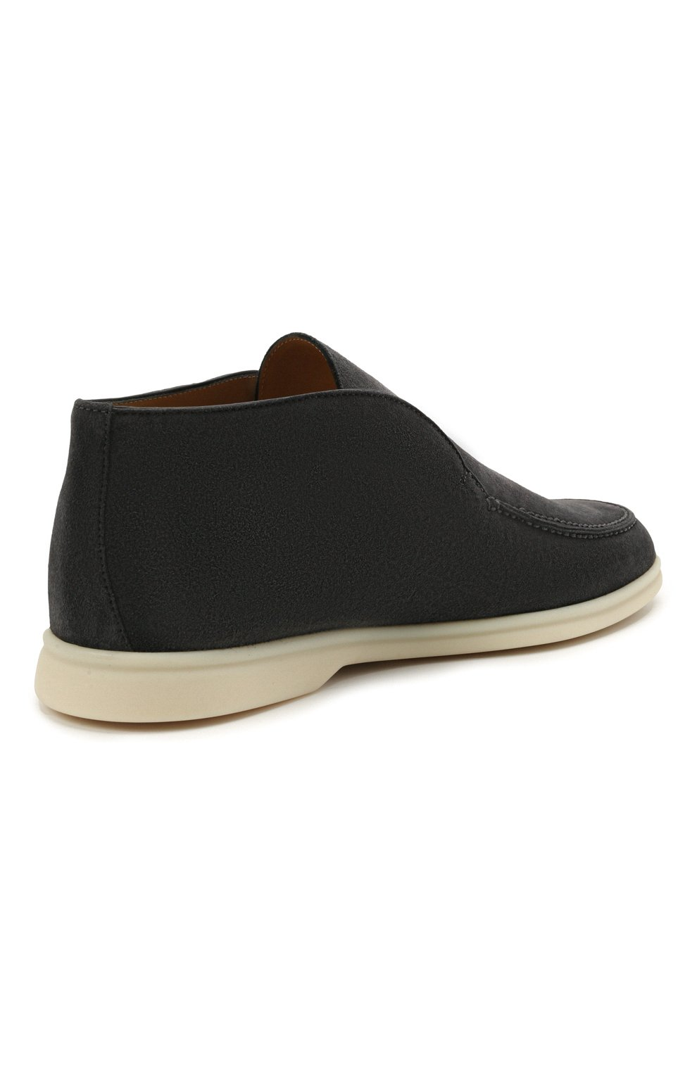 Мужские замшевые ботинки open walk LORO PIANA темно-серого цвета, арт. FAB4368   Фото 3