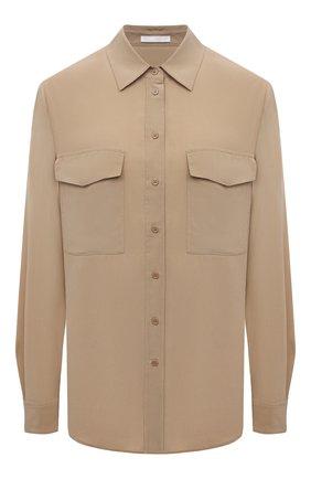 Женская шелковая рубашка BOSS бежевого цвета, арт. 50447798   Фото 1