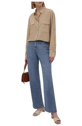 Женская шелковая рубашка BOSS бежевого цвета, арт. 50447798   Фото 2