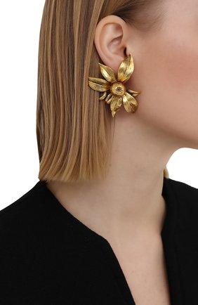 Женские клипсы SAINT LAURENT золотого цвета, арт. 654523/Y1500 | Фото 2