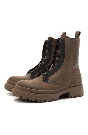 Женские замшевые ботинки BRUNELLO CUCINELLI темно-бежевого цвета, арт. MZSFG2009P | Фото 1 (Материал внутренний: Натуральная кожа; Подошва: Платформа; Женское Кросс-КТ: Военные ботинки; Каблук высота: Низкий; Материал внешний: Замша)