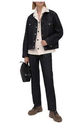 Женские замшевые ботинки BRUNELLO CUCINELLI темно-бежевого цвета, арт. MZSFG2009P | Фото 2 (Материал внутренний: Натуральная кожа; Подошва: Платформа; Женское Кросс-КТ: Военные ботинки; Каблук высота: Низкий; Материал внешний: Замша)
