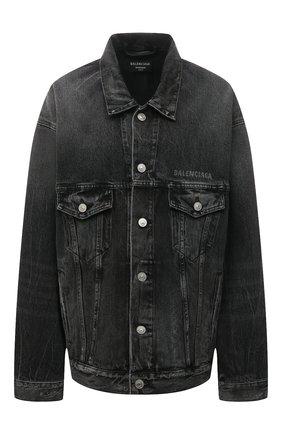 Женская джинсовая куртка BALENCIAGA темно-серого цвета, арт. 657607/TBP47 | Фото 1 (Материал внешний: Хлопок; Длина (верхняя одежда): Короткие; Рукава: Длинные; Кросс-КТ: Куртка, Деним; Стили: Спорт-шик)