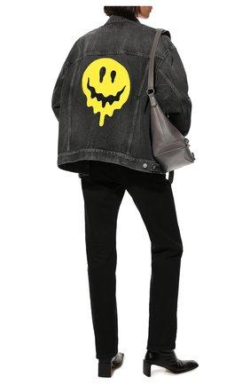 Женская джинсовая куртка BALENCIAGA темно-серого цвета, арт. 657607/TBP47 | Фото 2 (Материал внешний: Хлопок; Длина (верхняя одежда): Короткие; Рукава: Длинные; Кросс-КТ: Куртка, Деним; Стили: Спорт-шик)