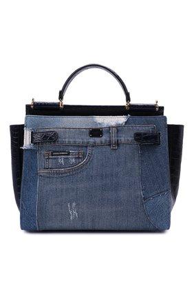 Женская сумка sicily 62 medium DOLCE & GABBANA синего цвета, арт. BB6891/A2W84/CYAC   Фото 1 (Сумки-технические: Сумки top-handle, Сумки через плечо; Размер: medium; Материал: Текстиль)