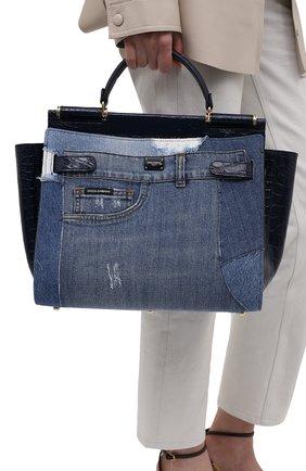 Женская сумка sicily 62 medium DOLCE & GABBANA синего цвета, арт. BB6891/A2W84/CYAC   Фото 2 (Сумки-технические: Сумки top-handle, Сумки через плечо; Размер: medium; Материал: Текстиль)