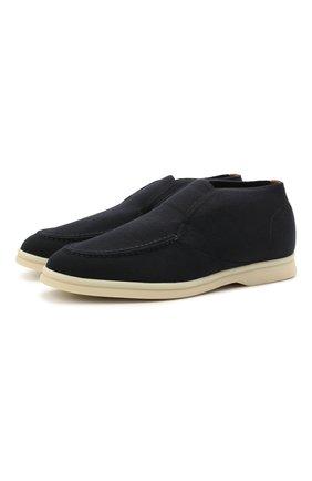 Женские текстильные ботинки open walk LORO PIANA темно-синего цвета, арт. FAL6201 | Фото 1