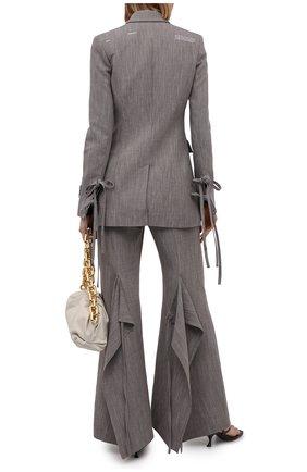 Женские брюки изо льна и вискозы OFF-WHITE серого цвета, арт. 0WCA127S21FAB001 | Фото 2