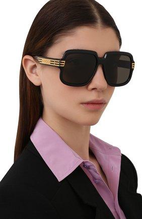 Женские солнцезащитные очки GUCCI черного цвета, арт. GG0979S 001   Фото 2