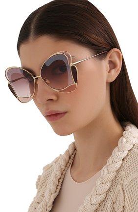 Женские солнцезащитные очки CHLOÉ фиолетового цвета, арт. CH0048S 004   Фото 2