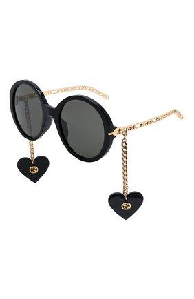 Женские солнцезащитные очки с подвесками GUCCI черного цвета, арт. GG0726S 005   Фото 1