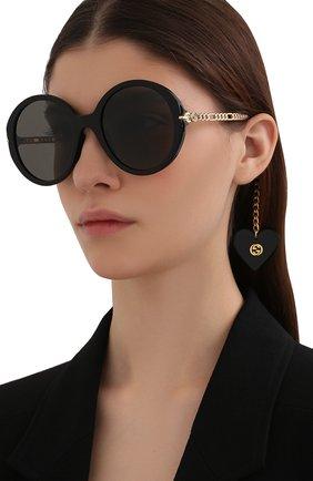 Женские солнцезащитные очки с подвесками GUCCI черного цвета, арт. GG0726S 005   Фото 2