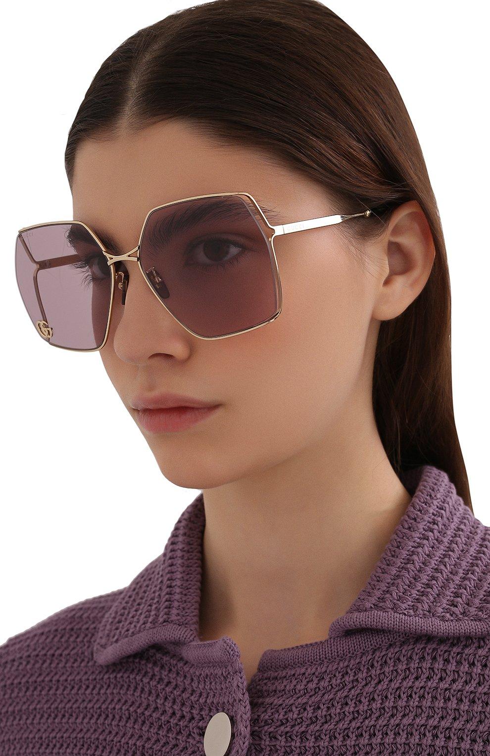 Женские солнцезащитные очки GUCCI сиреневого цвета, арт. GG0817S 007 | Фото 2