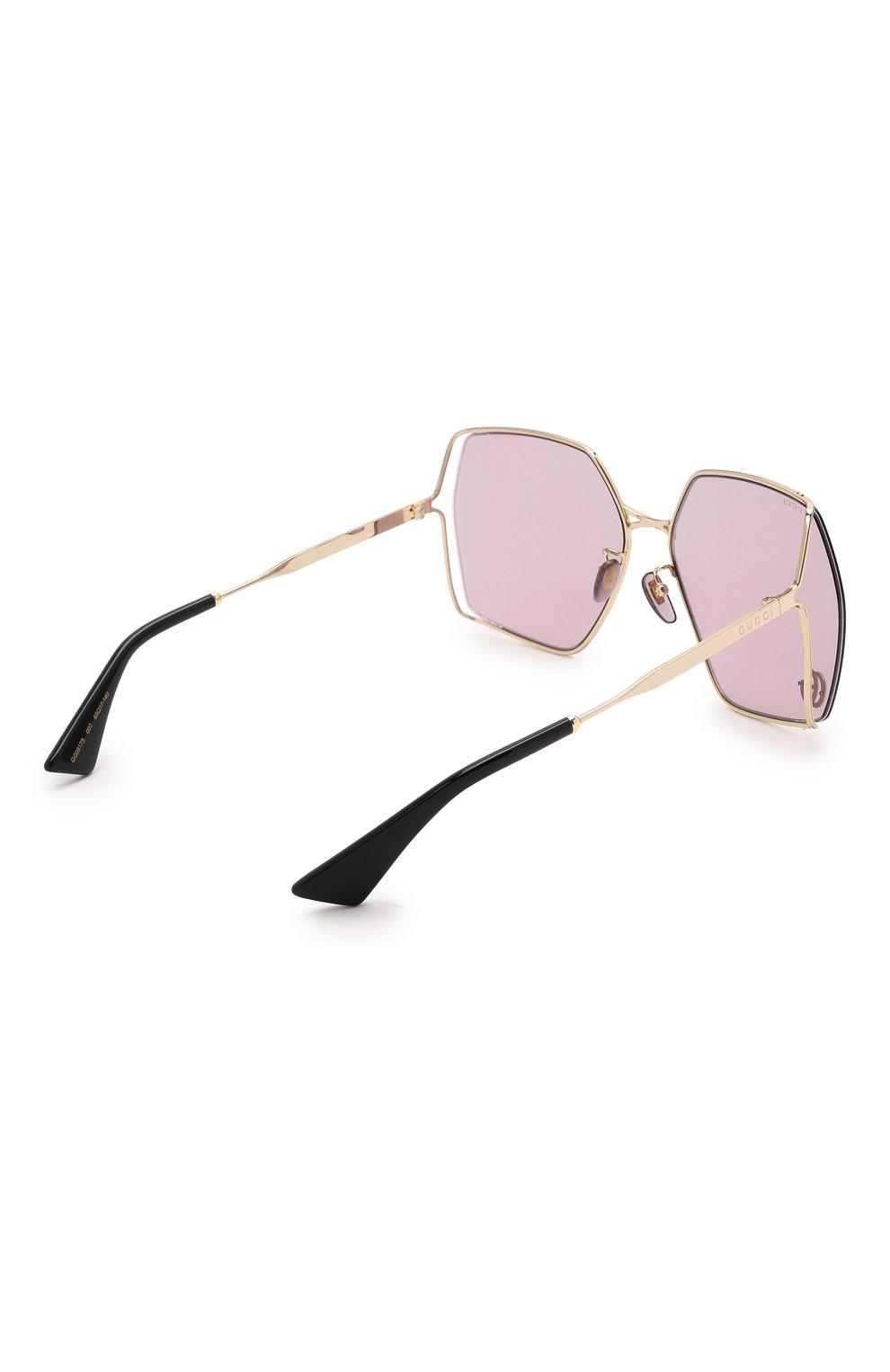 Женские солнцезащитные очки GUCCI сиреневого цвета, арт. GG0817S 007 | Фото 4