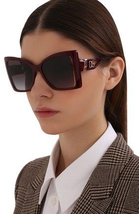 Женские солнцезащитные очки DOLCE & GABBANA бордового цвета, арт. 6141-32858G | Фото 2 (Тип очков: С/з; Очки форма: Бабочка; Оптика Гендер: оптика-женское)