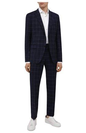 Мужской шерстяной костюм BOSS темно-синего цвета, арт. 50453677   Фото 1 (Костюмы М: Однобортный; Стили: Классический; Материал внешний: Шерсть; Рукава: Длинные)