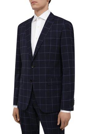 Мужской шерстяной костюм BOSS темно-синего цвета, арт. 50453677   Фото 2 (Костюмы М: Однобортный; Стили: Классический; Материал внешний: Шерсть; Рукава: Длинные)
