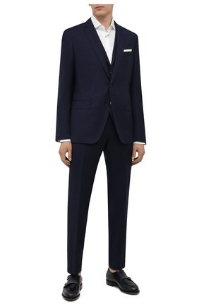Мужской шерстяной костюм-тройка BOSS темно-синего цвета, арт. 50453627 | Фото 1 (Костюмы М: Костюм-тройка; Рукава: Длинные; Стили: Классический; Материал внешний: Шерсть)