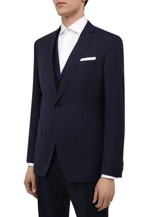 Мужской шерстяной костюм-тройка BOSS темно-синего цвета, арт. 50453627 | Фото 2 (Костюмы М: Костюм-тройка; Рукава: Длинные; Стили: Классический; Материал внешний: Шерсть)