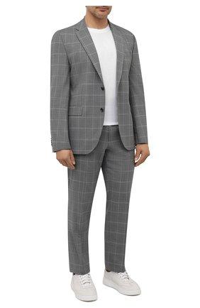 Мужской шерстяной костюм BOSS светло-серого цвета, арт. 50453655 | Фото 1 (Стили: Классический; Материал внешний: Шерсть; Рукава: Длинные; Костюмы М: Однобортный)