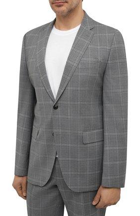 Мужской шерстяной костюм BOSS светло-серого цвета, арт. 50453655 | Фото 2 (Стили: Классический; Материал внешний: Шерсть; Рукава: Длинные; Костюмы М: Однобортный)