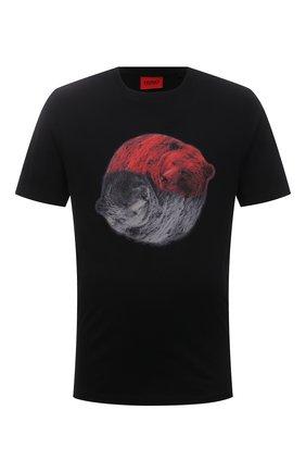 Мужская хлопковая футболка HUGO черного цвета, арт. 50455275 | Фото 1 (Длина (для топов): Стандартные; Рукава: Короткие; Стили: Кэжуэл; Материал внешний: Хлопок)