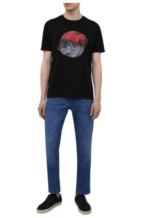 Мужская хлопковая футболка HUGO черного цвета, арт. 50455275 | Фото 2 (Длина (для топов): Стандартные; Рукава: Короткие; Стили: Кэжуэл; Материал внешний: Хлопок)