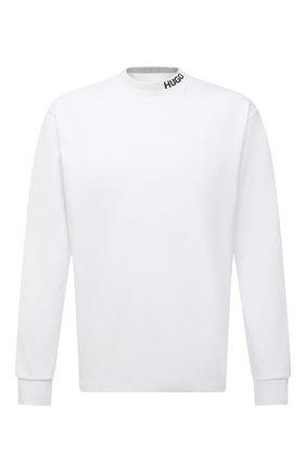 Мужская хлопковый лонгслив HUGO белого цвета, арт. 50454104 | Фото 1
