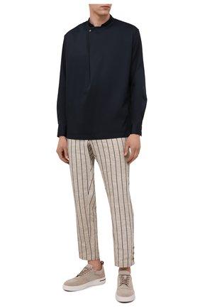 Мужские брюки GIORGIO ARMANI бежевого цвета, арт. 1SGPP0GY/T02HI | Фото 2 (Длина (брюки, джинсы): Стандартные; Материал внешний: Хлопок, Растительное волокно; Случай: Повседневный; Стили: Кэжуэл; Материал подклада: Синтетический материал)