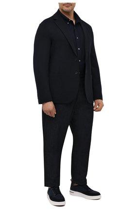 Мужская хлопковая рубашка POLO RALPH LAUREN темно-синего цвета, арт. 711654408/PRL BS | Фото 2 (Манжеты: На пуговицах; Воротник: Button down; Big sizes: Big Sizes; Рукава: Длинные; Случай: Повседневный; Длина (для топов): Стандартные; Материал внешний: Хлопок; Принт: Однотонные; Стили: Кэжуэл)
