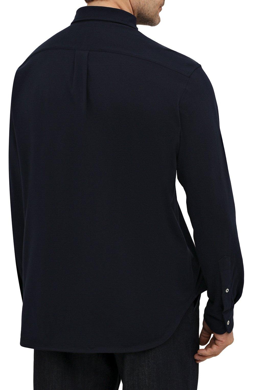 Мужская хлопковая рубашка POLO RALPH LAUREN темно-синего цвета, арт. 711654408/PRL BS | Фото 4 (Манжеты: На пуговицах; Воротник: Button down; Big sizes: Big Sizes; Рукава: Длинные; Случай: Повседневный; Длина (для топов): Стандартные; Материал внешний: Хлопок; Принт: Однотонные; Стили: Кэжуэл)