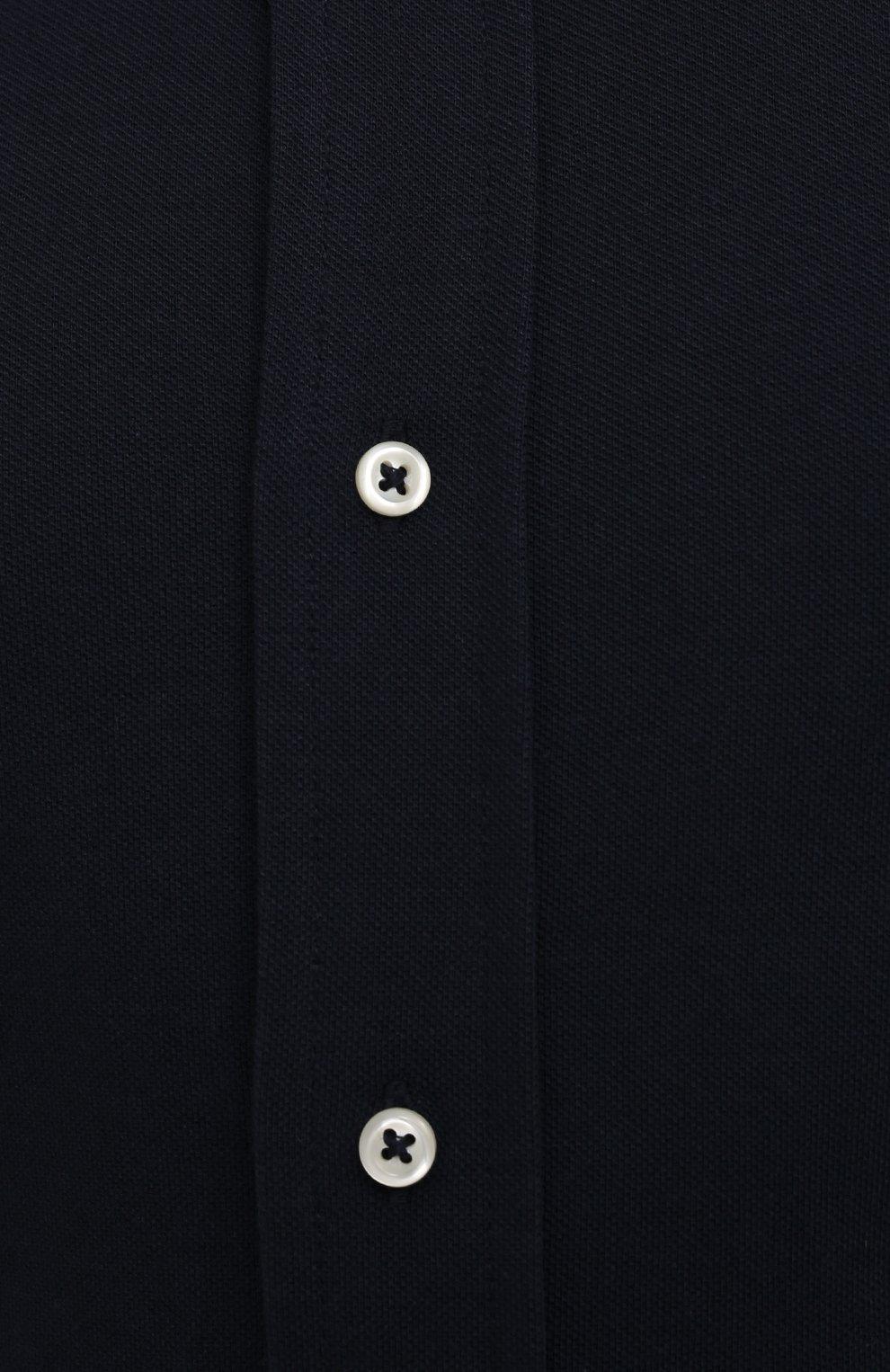 Мужская хлопковая рубашка POLO RALPH LAUREN темно-синего цвета, арт. 711654408/PRL BS | Фото 5 (Манжеты: На пуговицах; Воротник: Button down; Big sizes: Big Sizes; Рукава: Длинные; Случай: Повседневный; Длина (для топов): Стандартные; Материал внешний: Хлопок; Принт: Однотонные; Стили: Кэжуэл)