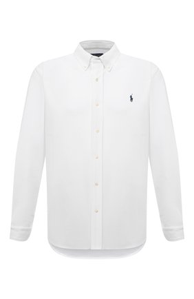 Мужская хлопковая рубашка POLO RALPH LAUREN белого цвета, арт. 711654408/PRL BS | Фото 1 (Манжеты: На пуговицах; Случай: Повседневный; Принт: Однотонные; Рукава: Длинные; Big sizes: Big Sizes; Воротник: Button down; Стили: Кэжуэл; Материал внешний: Хлопок; Длина (для топов): Стандартные)