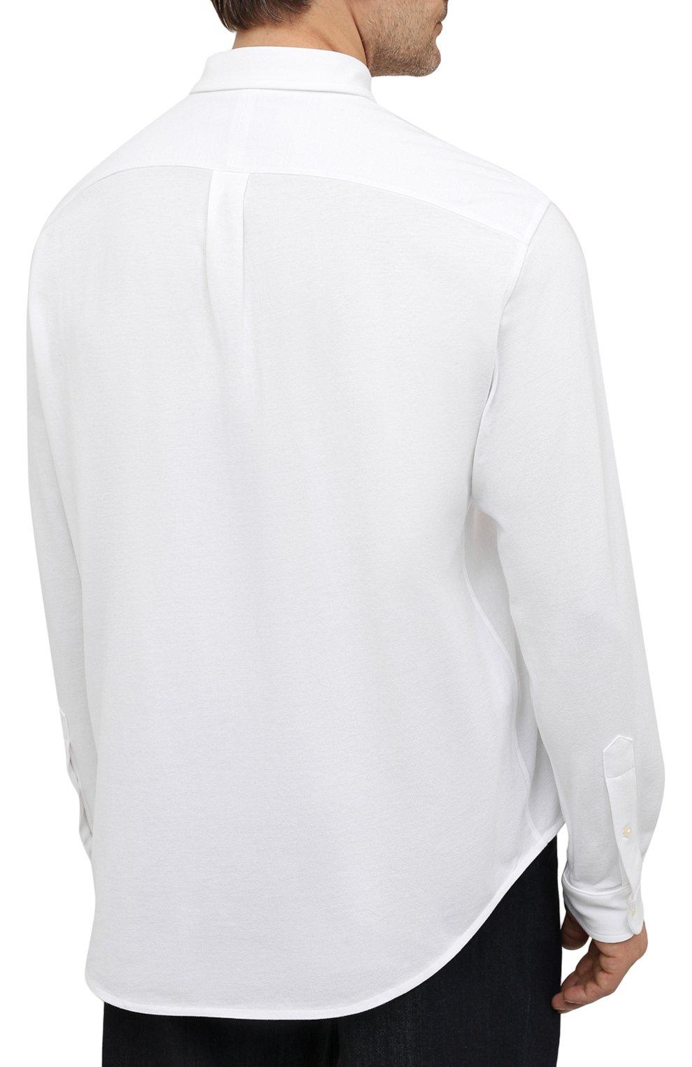 Мужская хлопковая рубашка POLO RALPH LAUREN белого цвета, арт. 711654408/PRL BS   Фото 4 (Манжеты: На пуговицах; Воротник: Button down; Big sizes: Big Sizes; Рукава: Длинные; Случай: Повседневный; Длина (для топов): Стандартные; Материал внешний: Хлопок; Принт: Однотонные; Стили: Кэжуэл)