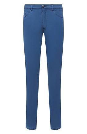 Мужские брюки из хлопка и шелка ZILLI синего цвета, арт. M0V-D0120-C0L01/S001 | Фото 1 (Длина (брюки, джинсы): Стандартные; Случай: Повседневный; Материал внешний: Хлопок; Стили: Кэжуэл)