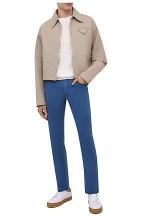 Мужские брюки из хлопка и шелка ZILLI синего цвета, арт. M0V-D0120-C0L01/S001 | Фото 2 (Длина (брюки, джинсы): Стандартные; Случай: Повседневный; Материал внешний: Хлопок; Стили: Кэжуэл)